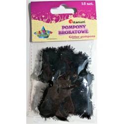 pompony brokatowe czarne 1,8 cm 15 szt.  338528  6